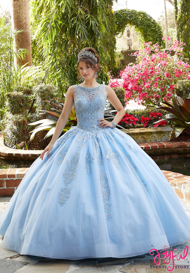 Embroidered and Crystal Beaded Tulle Quinceañera Dress #60122