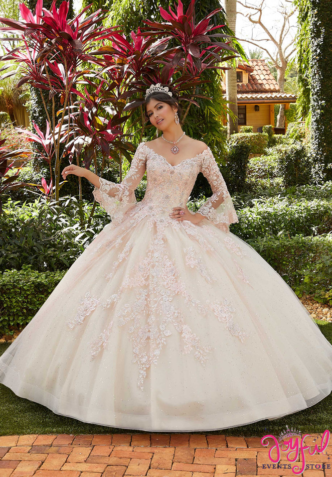 Bell Sleeve Floral Embroidered Quinceañera Dress #60124