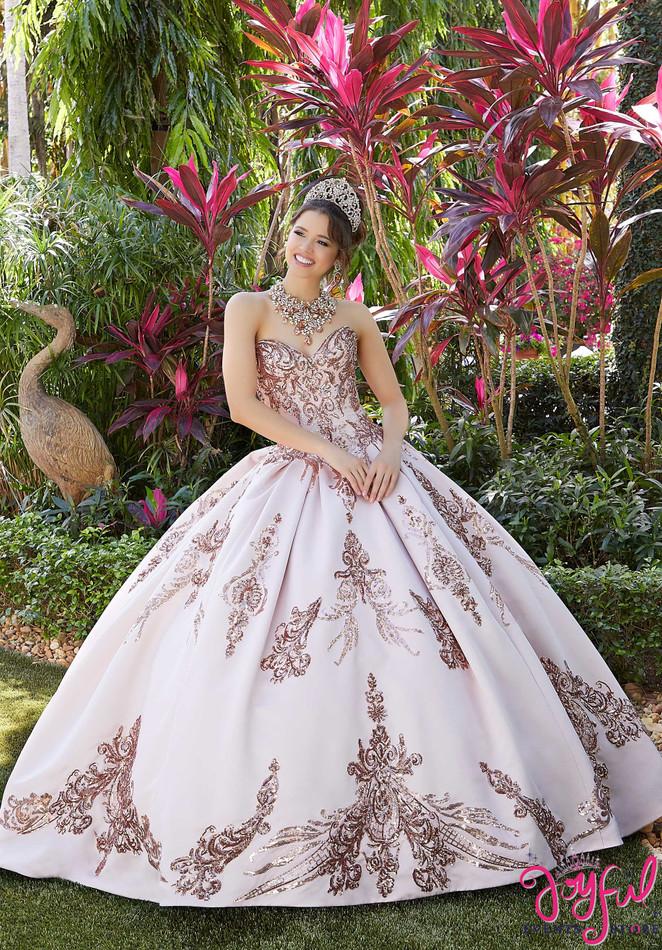 Sequin Box-Pleated Satin Quinceañera Dress #60127