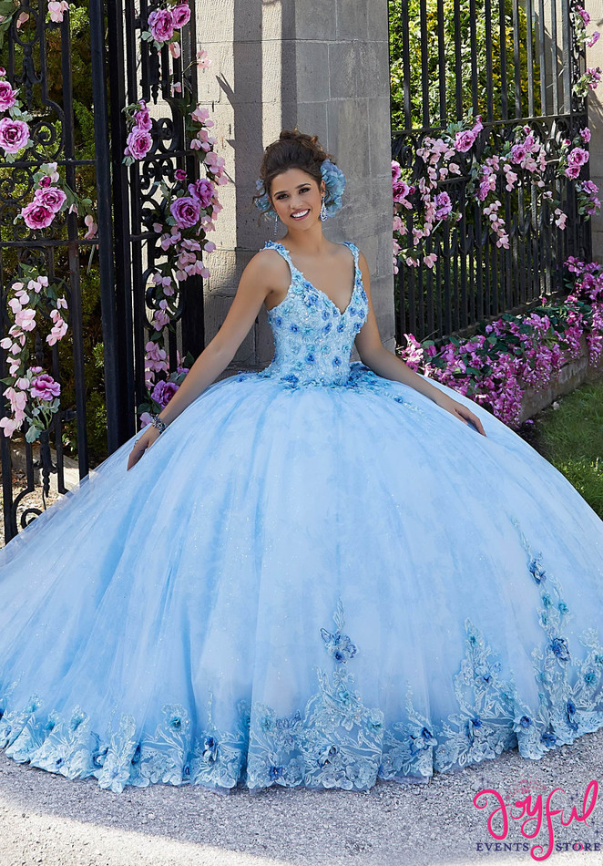 Crystal Beaded Floral Appliqué Quinceañera Dress #34022