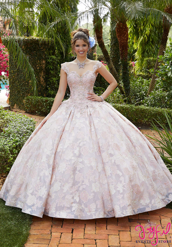 Metallic Floral Printed Organza Quinceañera Dress #34031