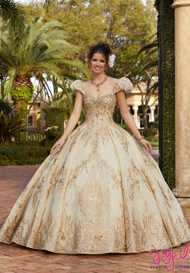 Lace and Crystal Beaded Quinceañera Dress #34032