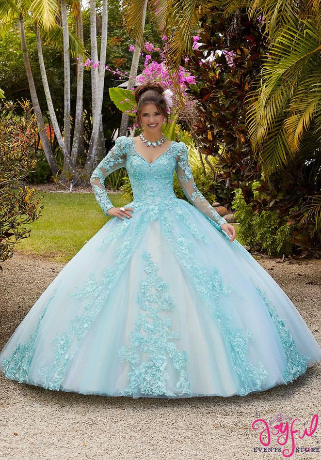 Long Sleeved Crystal Beaded Quinceañera Dress #34034