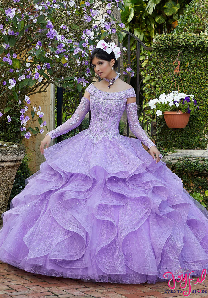 Flounced Lace and Crystal Beaded Quinceañera Dress #34035