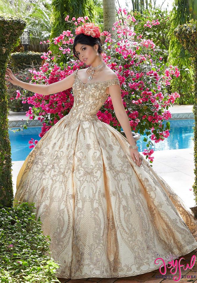 Larissa Satin and Metallic Lace Quinceañera Dress #34036