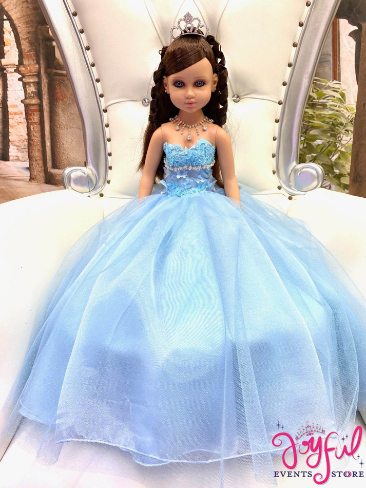"20"" Quinceanera Doll with Light Blue Dress - #QD128"
