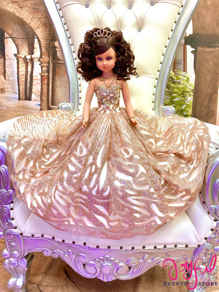 """20"""" Quinceanera Doll with Sparkly Rose Gold Dress - #QD130"""