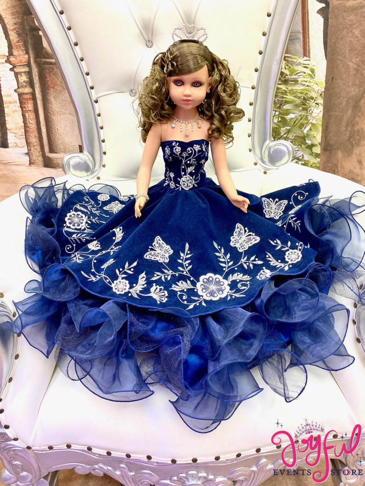 "20"" Quinceanera Doll with Charra Royal Blue Dress - #QD131"