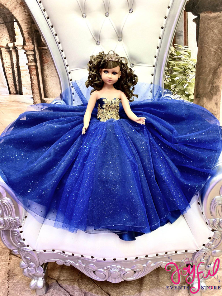"""20"""" Quinceanera Doll with Blue Dress - #QD134RB"""
