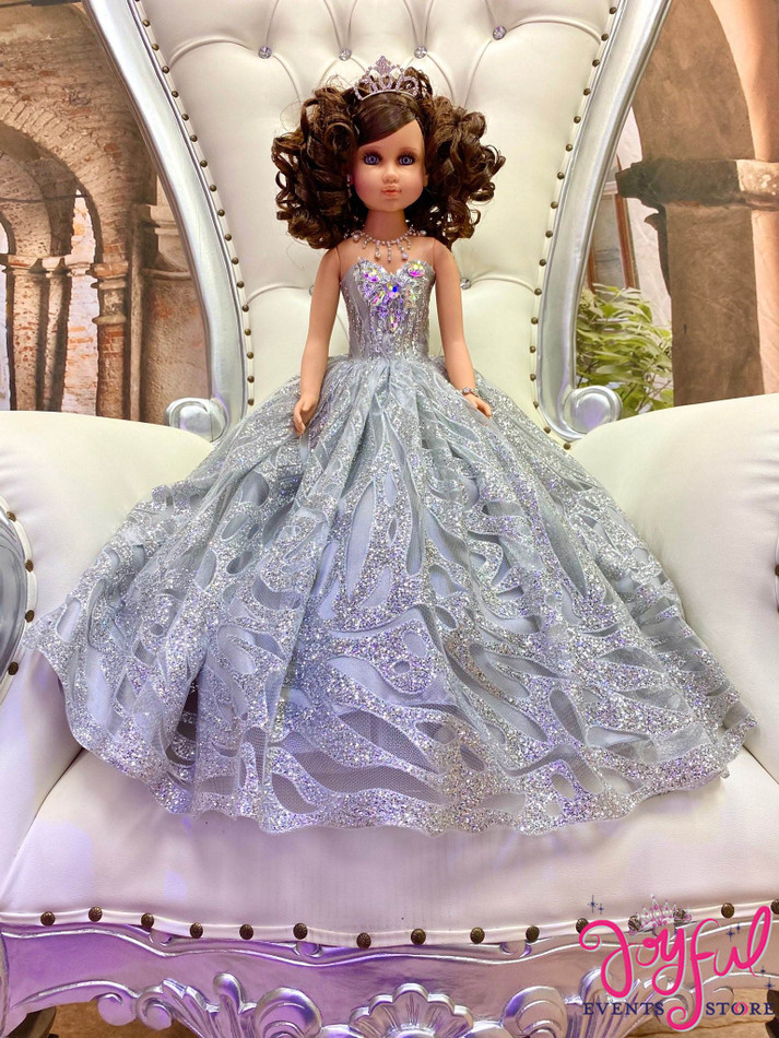 "20"" Quinceanera Doll with Sparkly Silver Dress - #QD130SV"