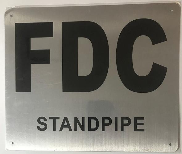 FDC STANDPIPE SIGN- BRUSHED ALUMINUM (ALUMINUM