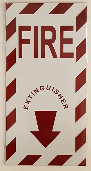 FIRE EXTINGUISHER ARROW SIGN (WHITE, ALUMINUM