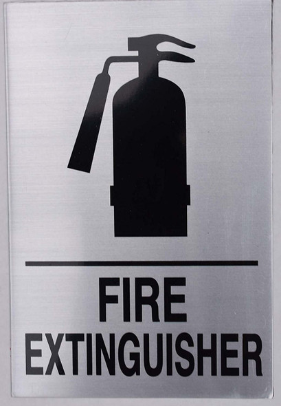 FIRE EXTINGUISHER SIGN silver