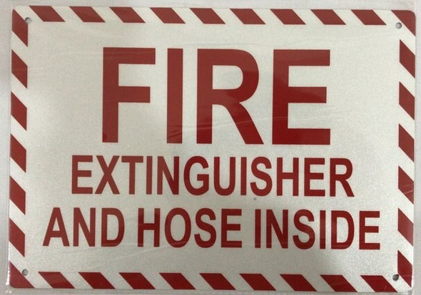SIGNS FIRE EXTINGUISHER AND HOSE INSIDE SIGN-