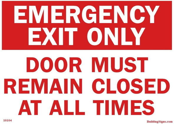 Emergency Exit Door must remain closed