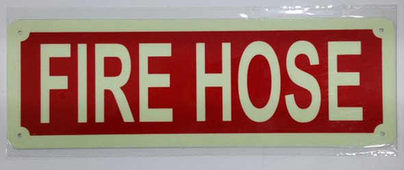 SIGNS FIRE HOSE SIGN - PHOTOLUMINESCENT GLOW