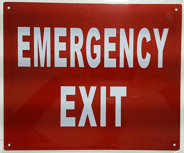 SIGNS EMERGENCY EXIT SIGN- REFLECTIVE !!! (ALUMINUM