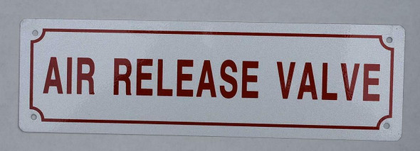 AIR RELEASE VALVE SIGN- WHITE BACKGROUND