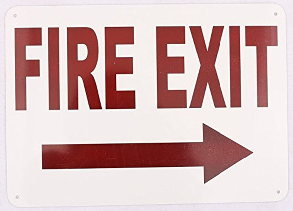 FIRE EXIT RIGHT SIGN- WHITE BACKGROUND