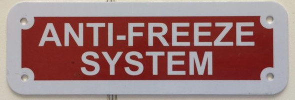 SIGNS ANTI-FREEZE SYSTEM SIGN- REFLECTIVE !!! (RED,