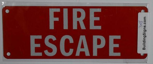 SIGNS FIRE ESCAPE SIGN (ALUMINUM SIGNS 3X8,