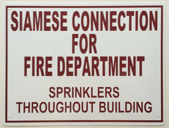 SIGNS SIAMESE CONNECTION FOR FIRE DEPARTMENT SIGN