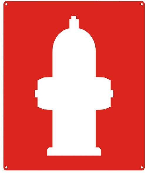 FIRE HYDRANT SIGN- RED BACKGROUND (ALUMINUM