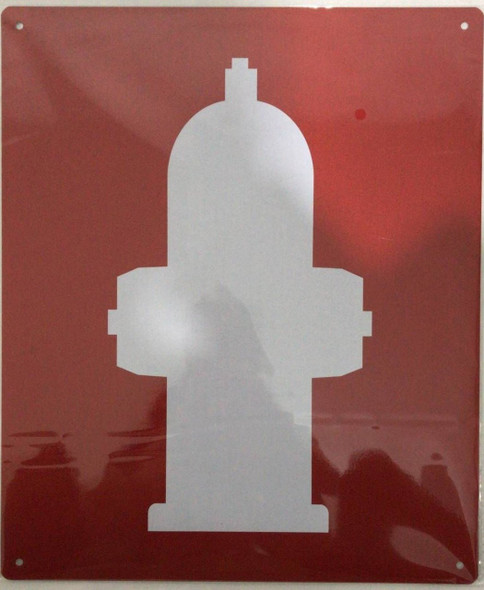 SIGNS FIRE HYDRANT SIGN- RED BACKGROUND (ALUMINUM