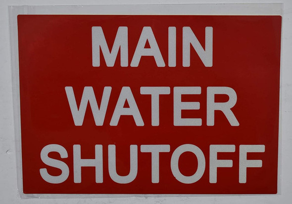 SIGNS MAIN WATER SHUT-OFF SIGN (STICKER 7X10,