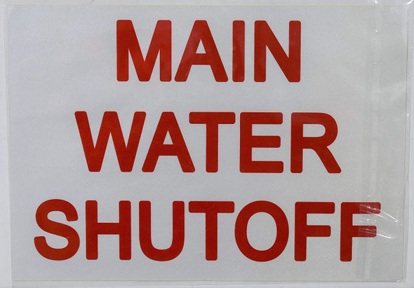 SIGNS MAIN WATER SHUT-OFF SIGN (STICKER 7X10)