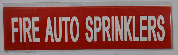 SIGNS FIRE AUTO SPRINKLERS SIGN (STICKER 2X8,