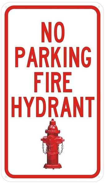 NO PARKING FIRE HYDRANT SIGN- WHITE
