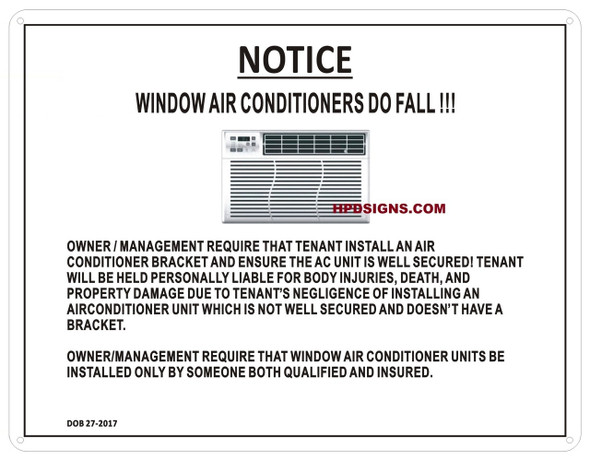 NOTICE WINDOW AIR CONDITIONERS DO FALL