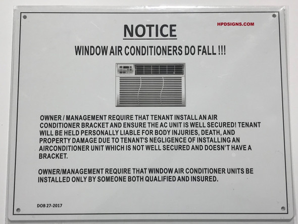 SIGNS NOTICE WINDOW AIR CONDITIONERS DO FALL