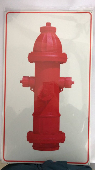 SIGNS FIRE HYDRANT SIGN- WHITE BACKGROUND (ALUMINUM