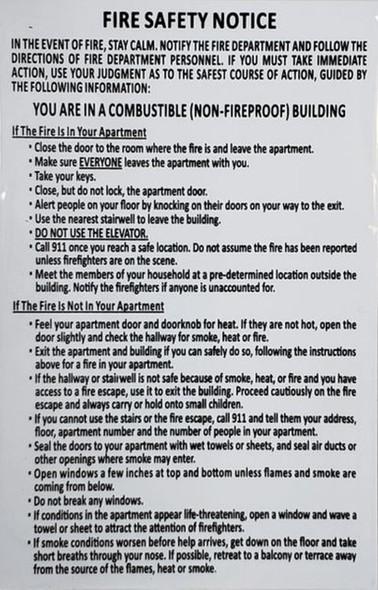 DOOR FIRE SAFETY NOTICE:NON-FIREPROOF BUILDING (White/black,aluminium