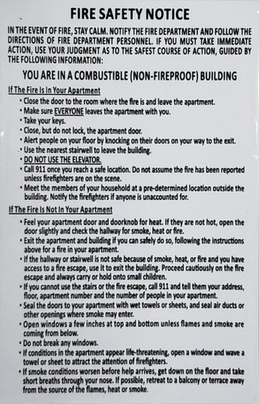 SIGNS DOOR FIRE SAFETY NOTICE:NON-FIREPROOF BUILDING (White/black,aluminium