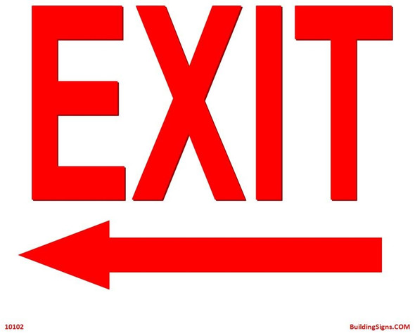 Exit Left Sign (Aluminum signs