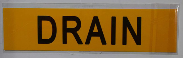 SIGNS DRAIN SIGN (STICKER 2X8) (Yellow)-(ref062020)