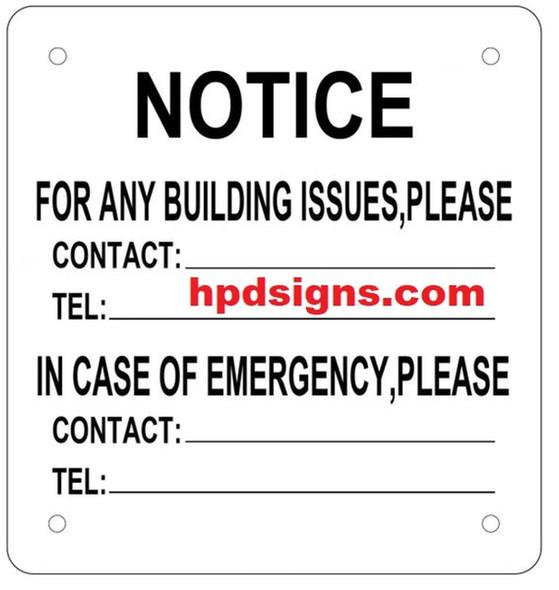 BUILDING EMERGENCY CONTACT SIGN - (ALUMINUM