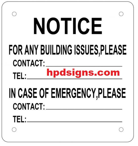 SIGNS BUILDING EMERGENCY CONTACT SIGN - (ALUMINUM