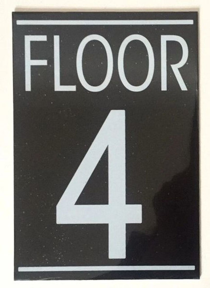 FLOOR NUMBER FOUR (4) SIGN -