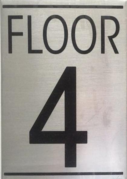 FLOOR NUMBER FOUR (4) SIGN- BRUSHED