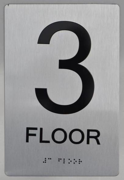 3rd FLOOR ADA Sign -Tactile Signs