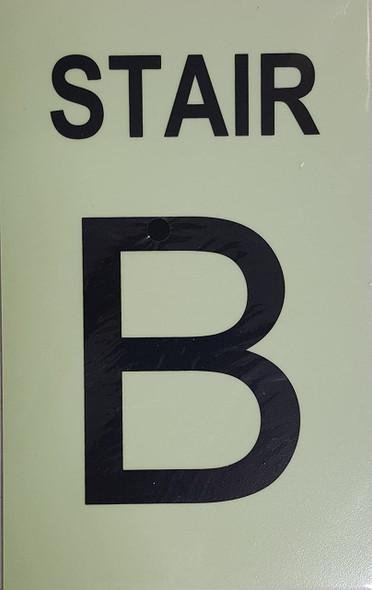 PHOTOLUMINESCENT STAIR B SIGN HEAVY DUTY