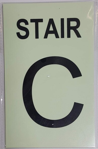 PHOTOLUMINESCENT STAIR C SIGN HEAVY DUTY