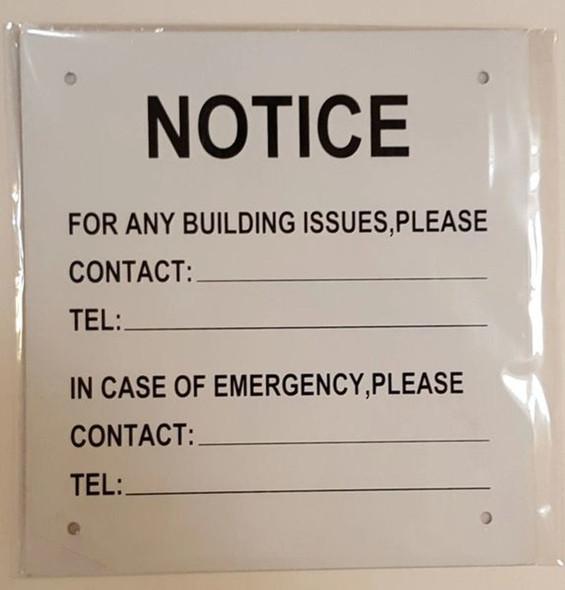 NOTICE OF BUILDING ISSUES SIGN (ALUMINUM