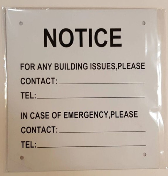 SIGNS NOTICE OF BUILDING ISSUES SIGN (ALUMINUM