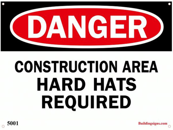 Danger Construction Area Hard Hats required