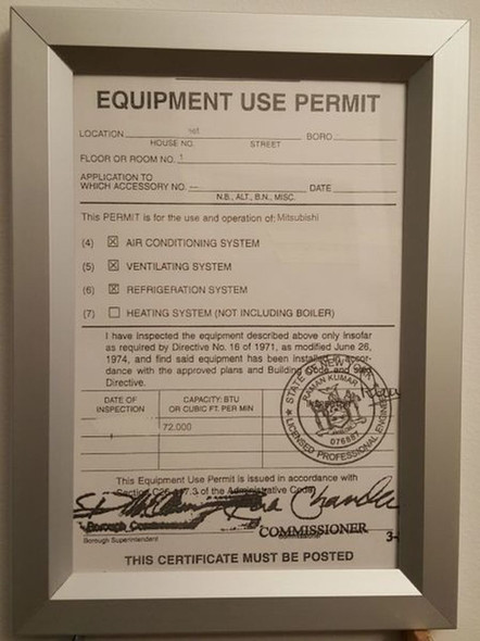 SIGNS Equipment Use Permit Certificate visits frame